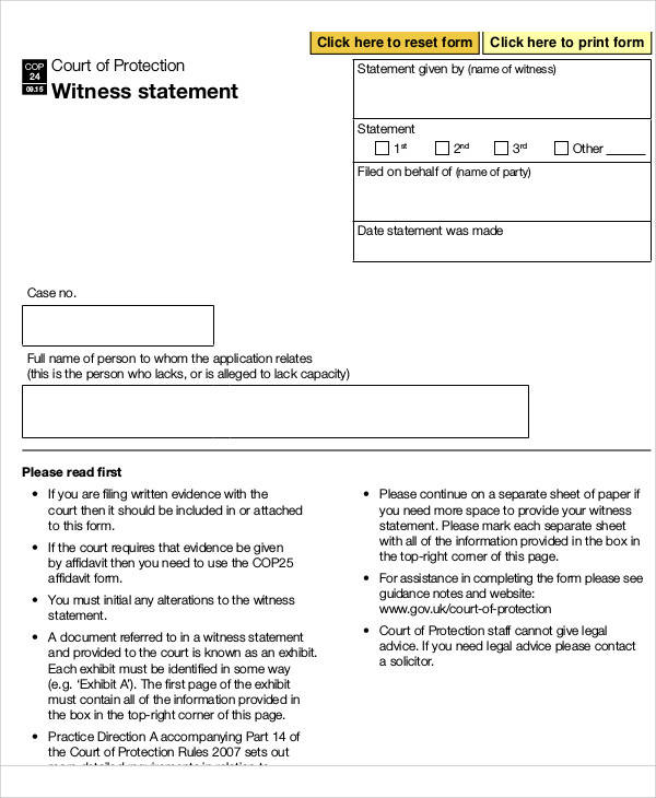 witness statement affidavit form