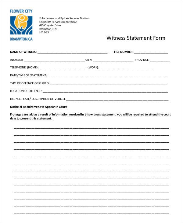 Sample Statement Forms