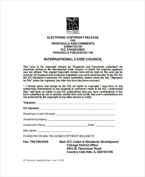 word copyright release form