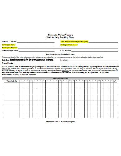 work activity tracking sheet