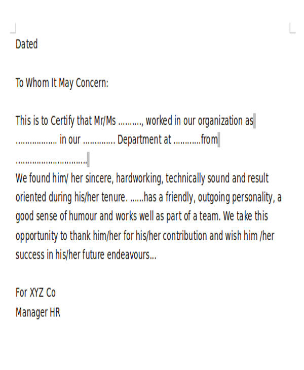 work experience letter2