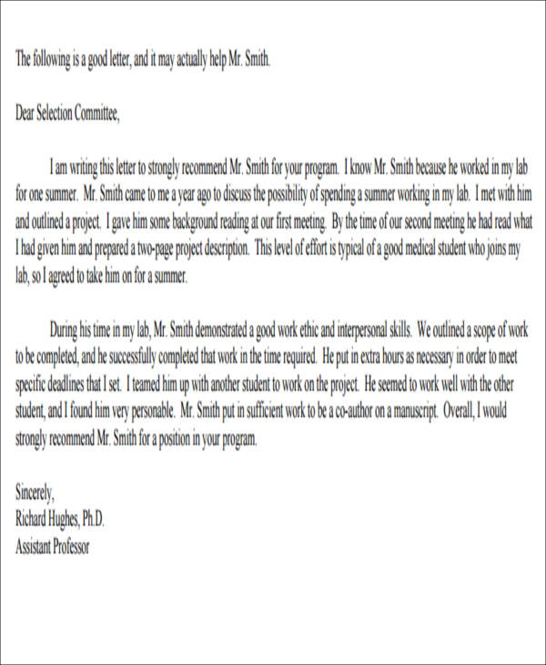 Work Experience Recommendation Letter