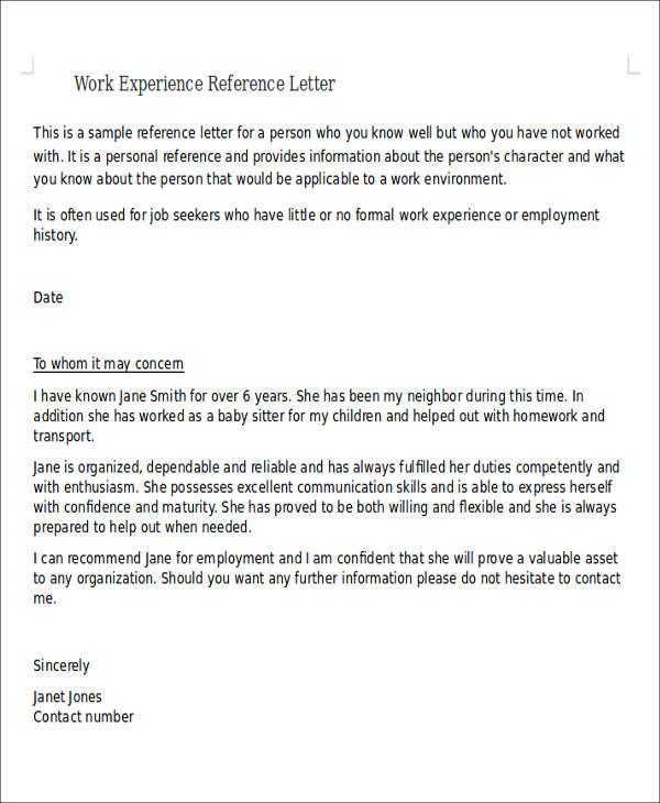 Work Letter Samples