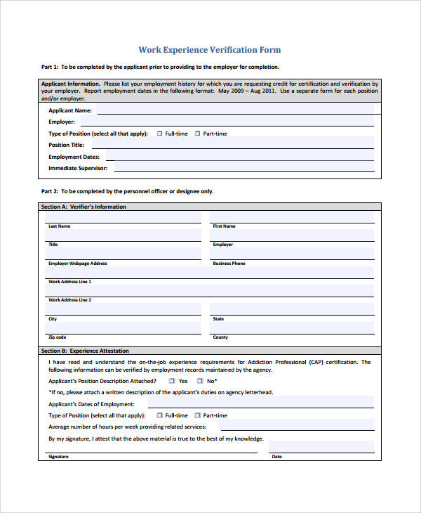 work experience verification form
