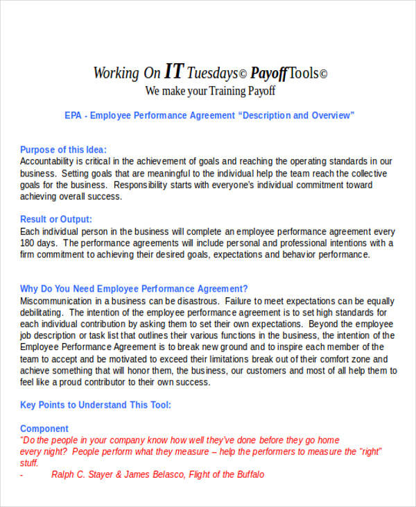 work performance agreement contract
