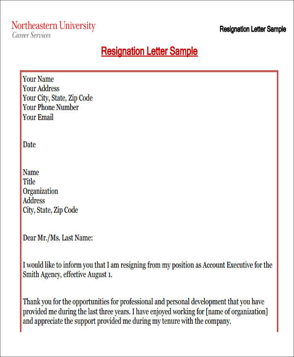 work resignation letter in pdf