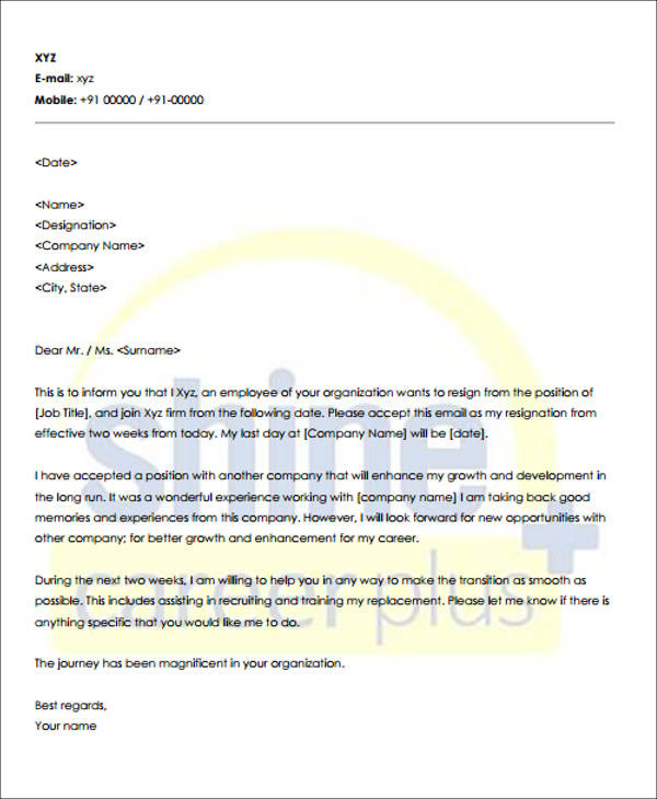 work resignation notice period letter