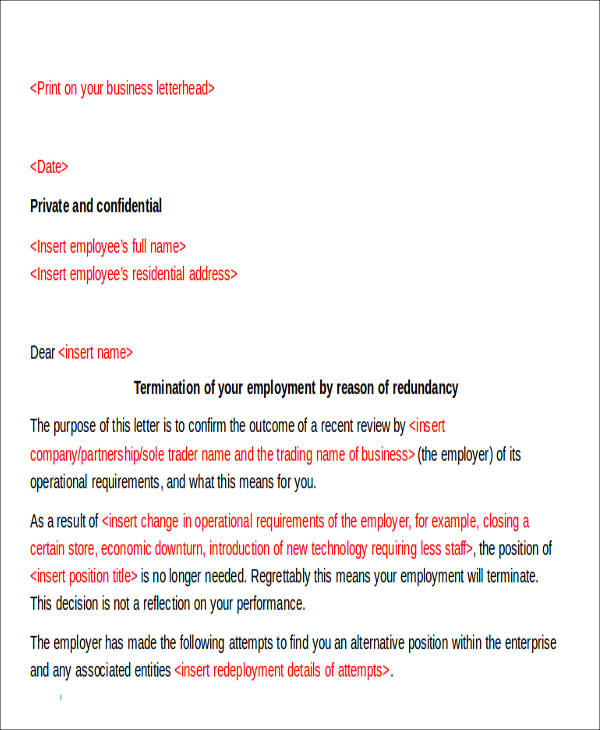 work termination notice letter