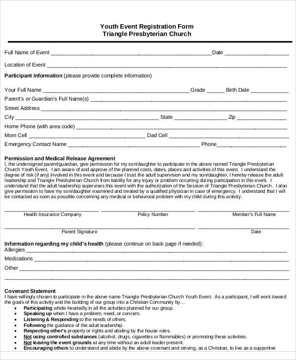 youth event registration form