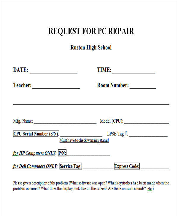 Repair Request Form Church Request Of Vehicle Use Dates Of Use Date