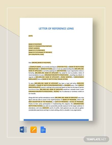 letter of reference long