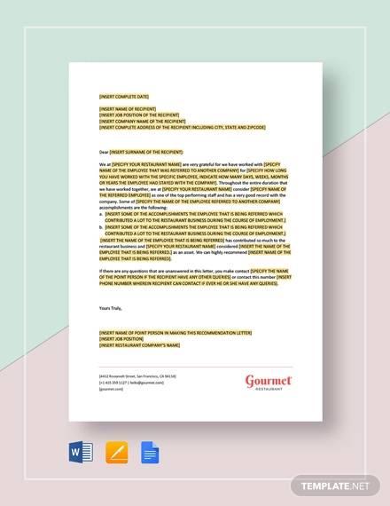restaurant letter of reference