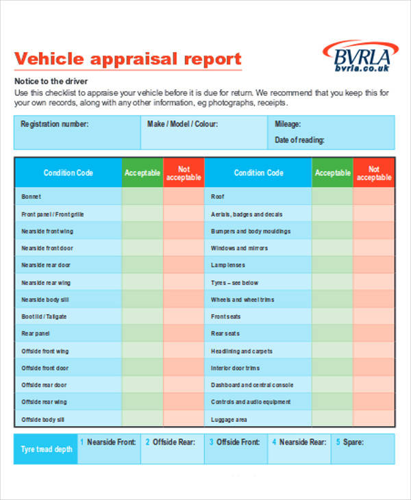 vehicle trade appraisal form