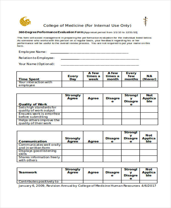 29 appraisal form examples sample templates for 360 performance evaluation template