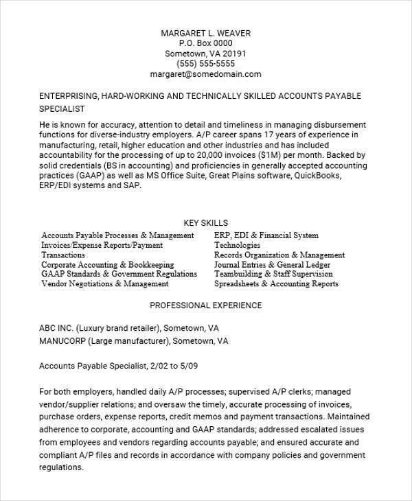 resume for accounts payable executive 28 images