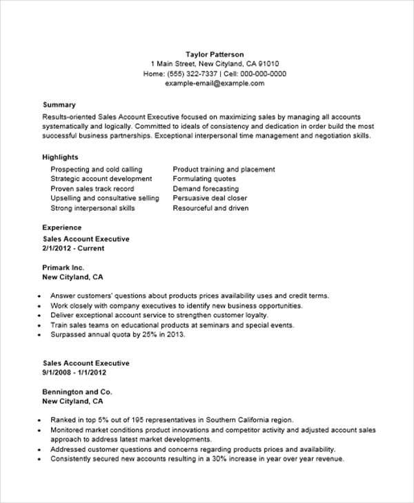 35 Free Executive Resumes ... Sales Account ...  Sales Account Executive Resume