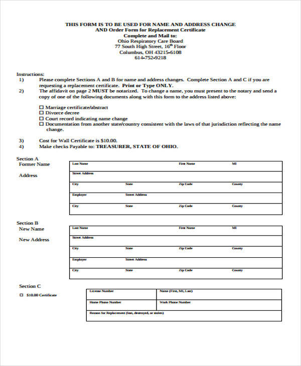 address change affidavit form