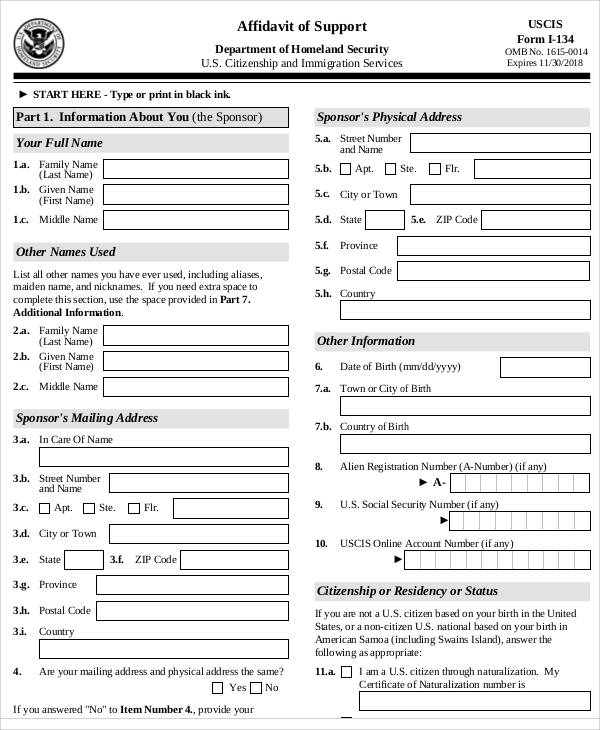 affidavit of support application form