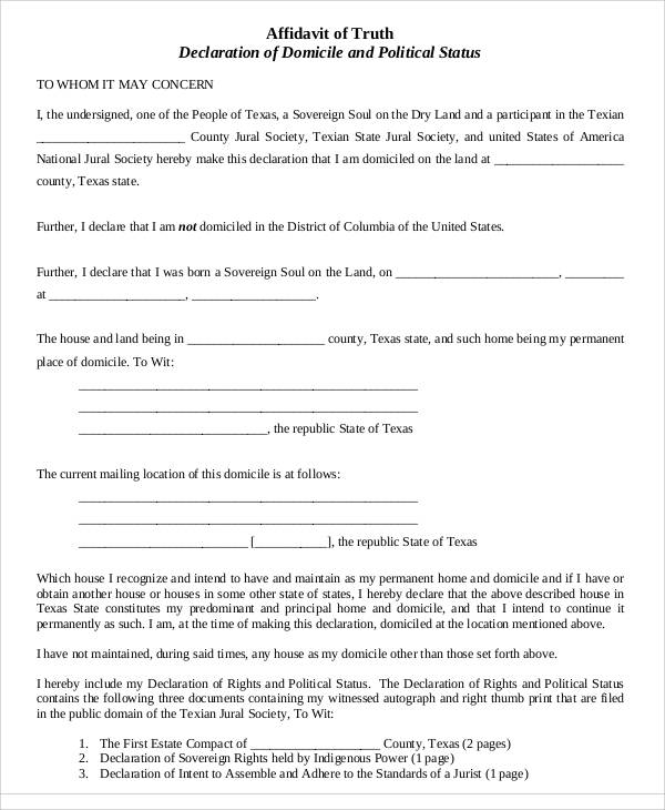 affidavit of truth notice form