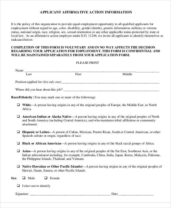 affirmative action information form