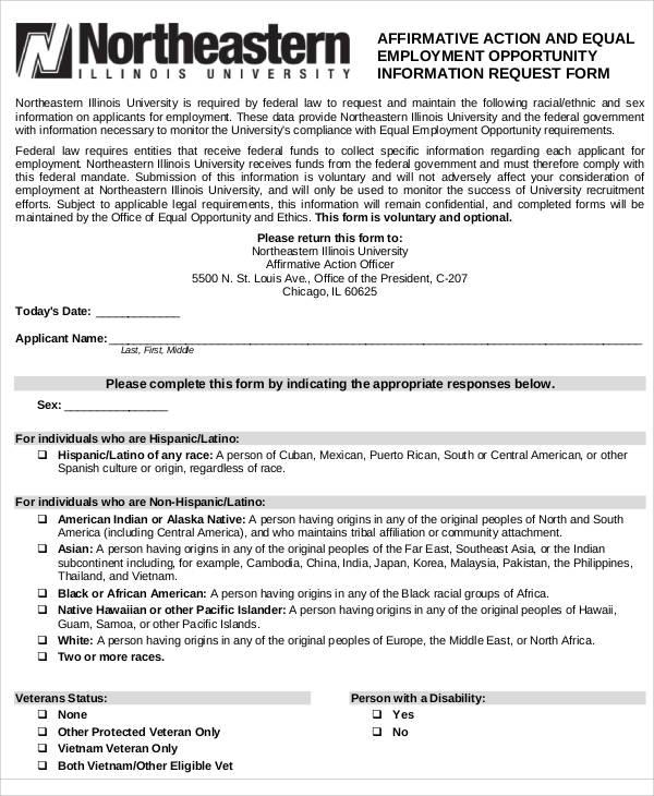 affirmative action request form