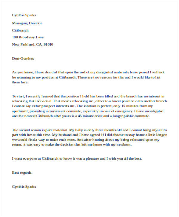 Sample Maternity Resignation Letter  Free Sample Example