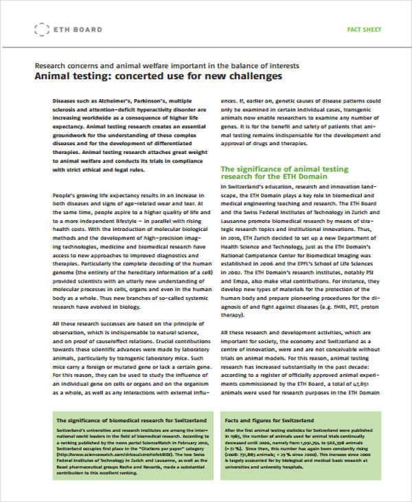animal testing sheet