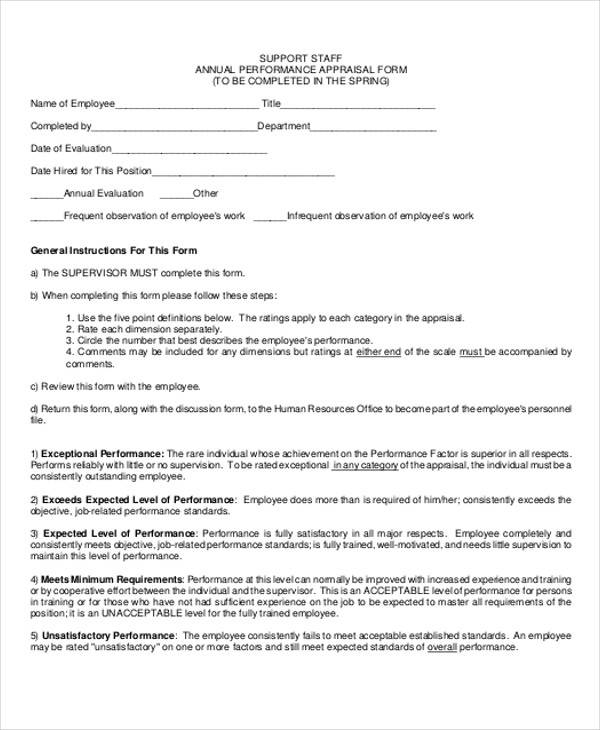 annual performance appraisal form