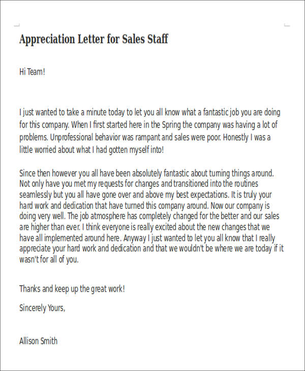 appreciation letter for staff