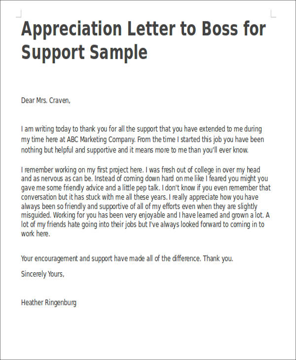 letter appreciation to boss 51 appreciation letter samples pdf word pages 17350 | Appreciation Letter to Boss for Support Sample