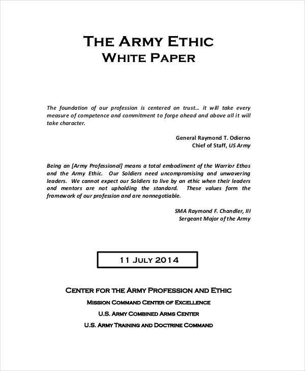army ethic paper