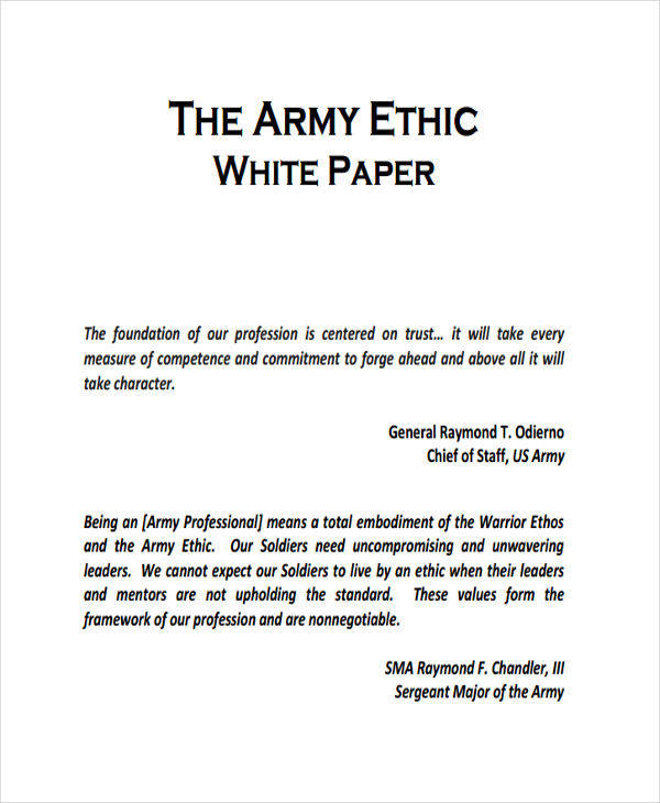 army ethic white paper1