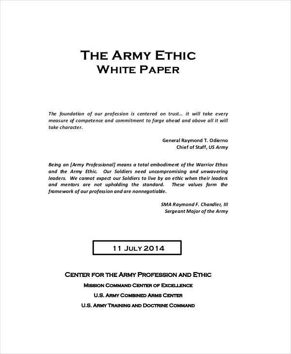 army white ethic paper