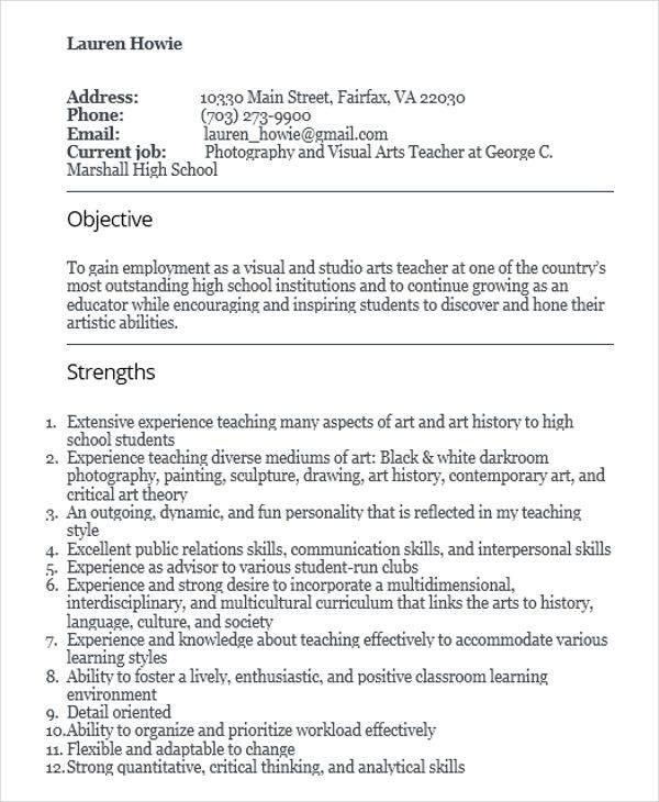 art school teacher resume1