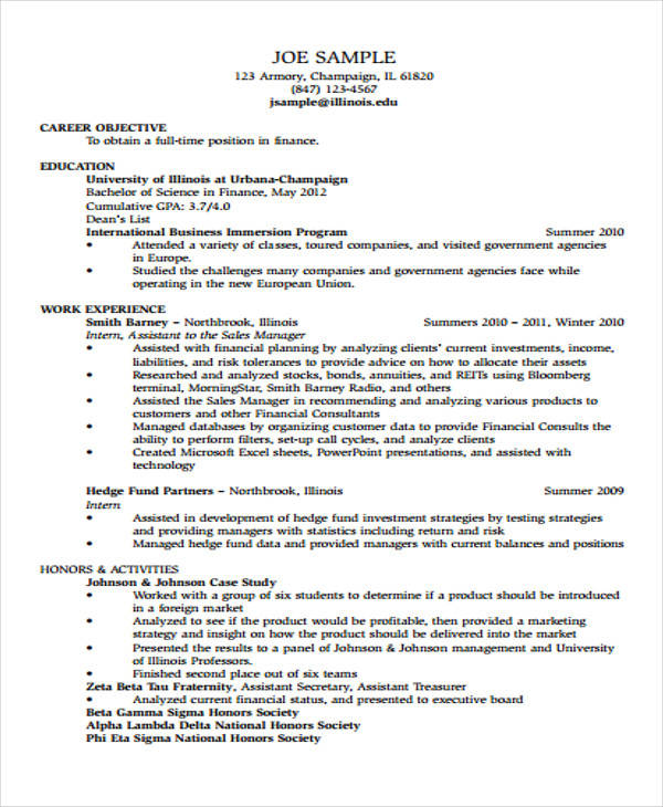 assistant financial accountant resume