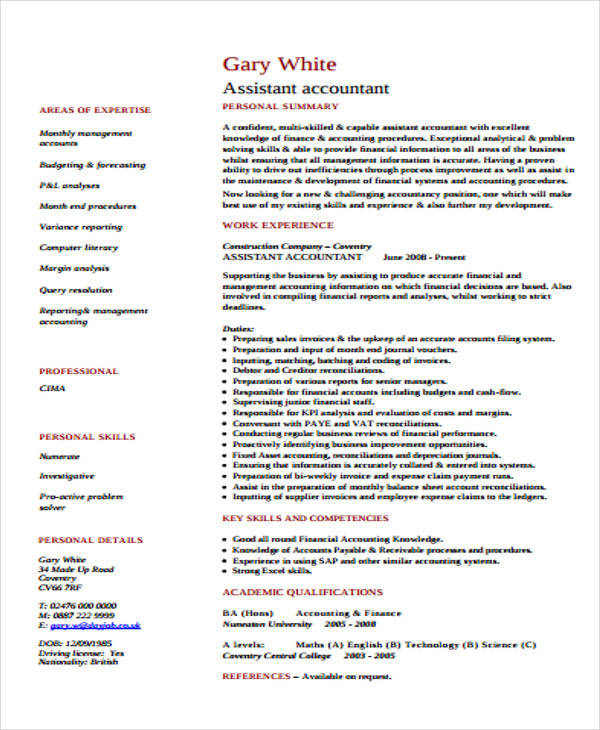assistant management accountant resume1