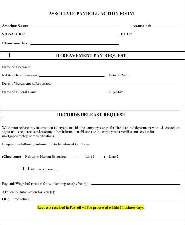 associate payroll action form