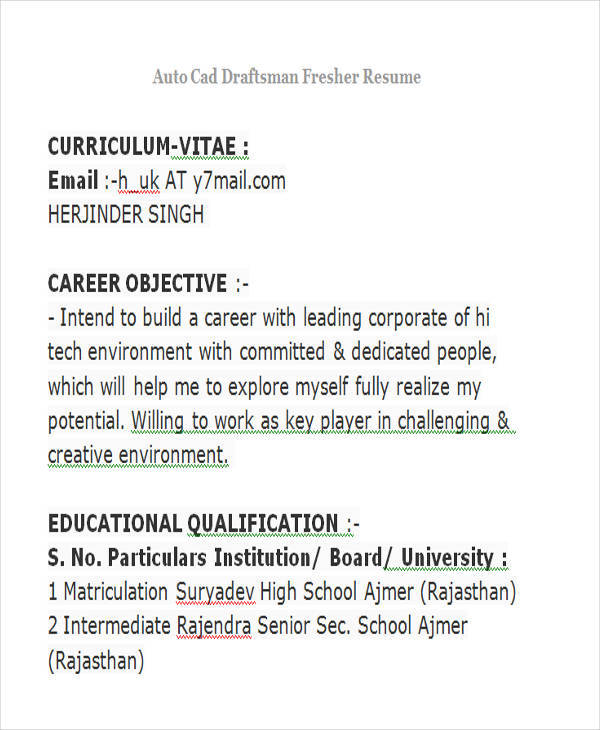 Free 42 Professional Fresher Resume Templates In Pdf Ms