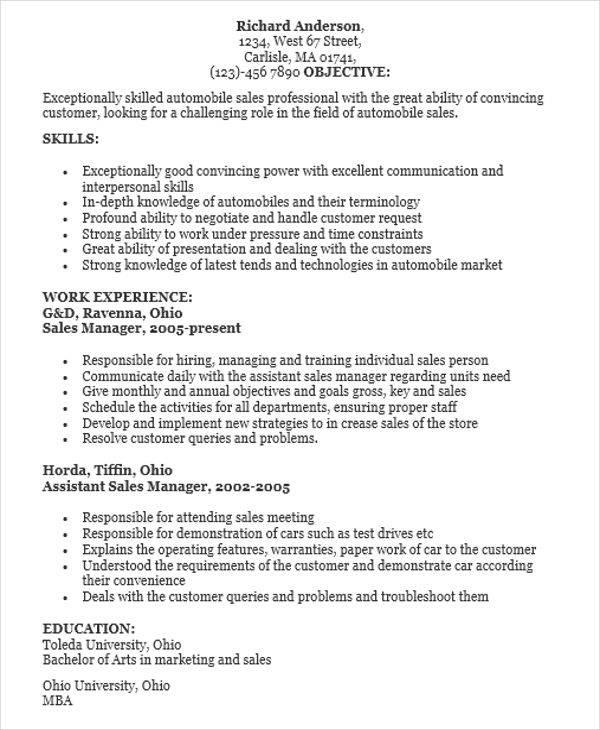 automobile sales resume format1