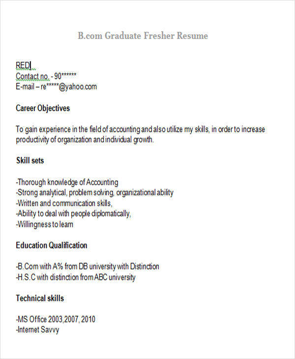 Resume Format For Freshers For Accountant: 43 Professional Fresher Resumes