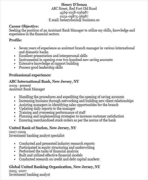 bank assistant resume