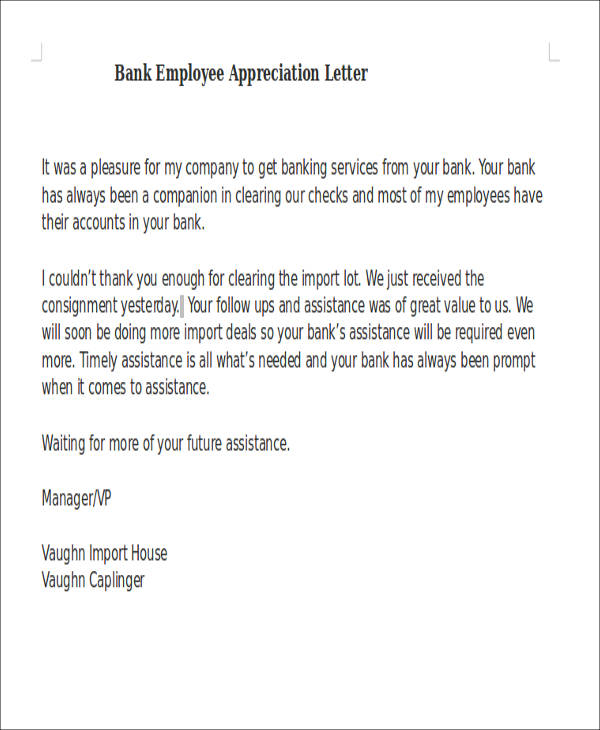 50 appreciation letter samples bank employee appreciation letter altavistaventures Choice Image