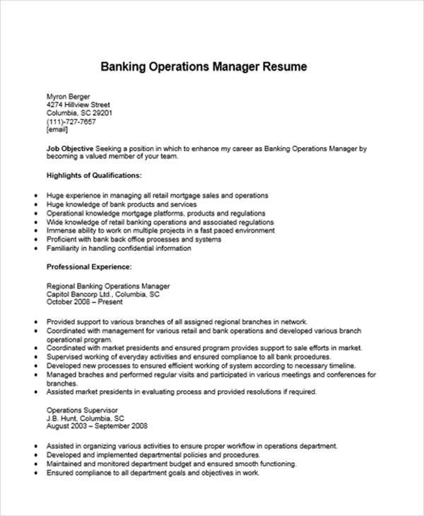 Sample resume for bank operations manager - Touristpurchase.ga