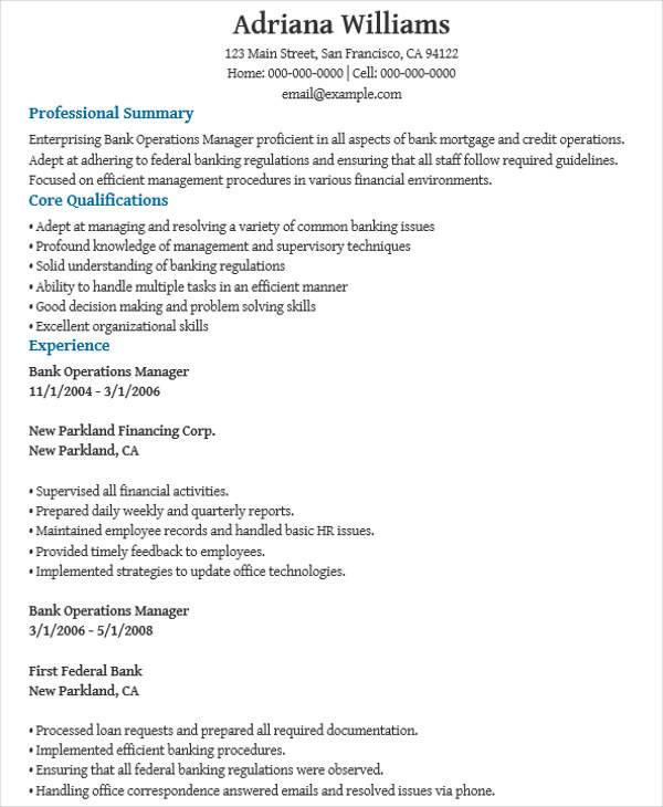 bank operations resume1