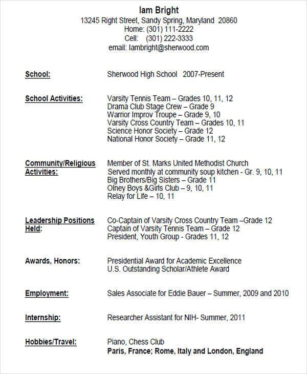 Basic High School Resume Format