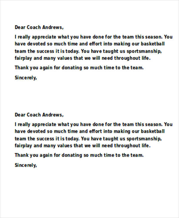 Sample Coach ThankYou Letters