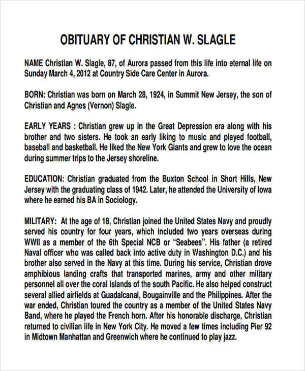33 Sample Obituary Sample Templates
