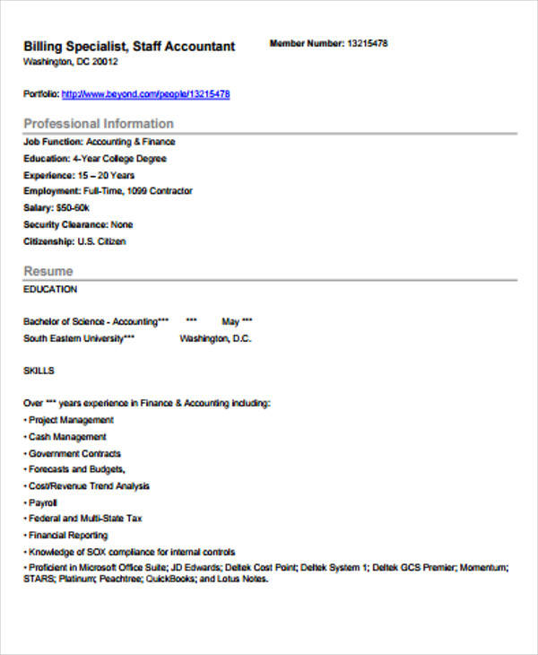 resumes for accountants