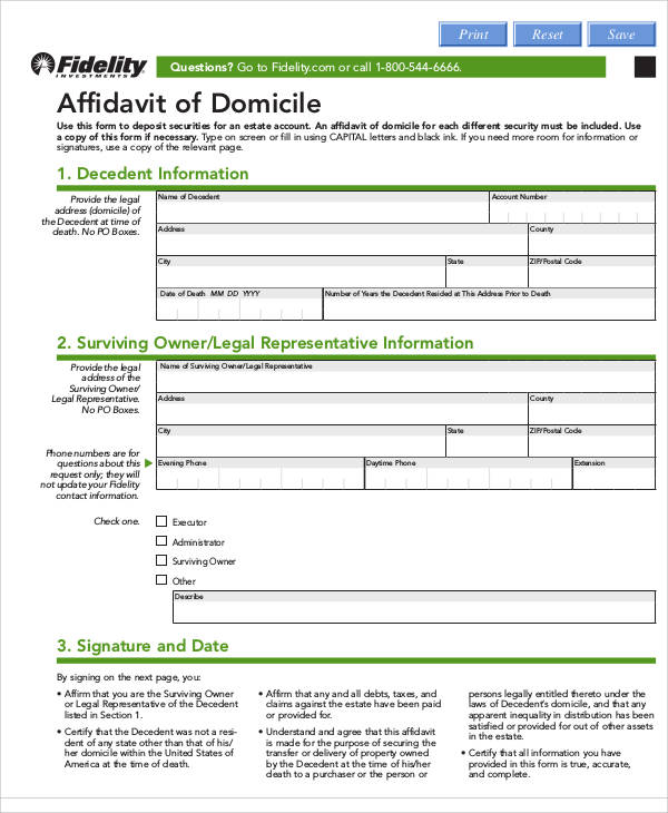 blank affidavit of domicile form