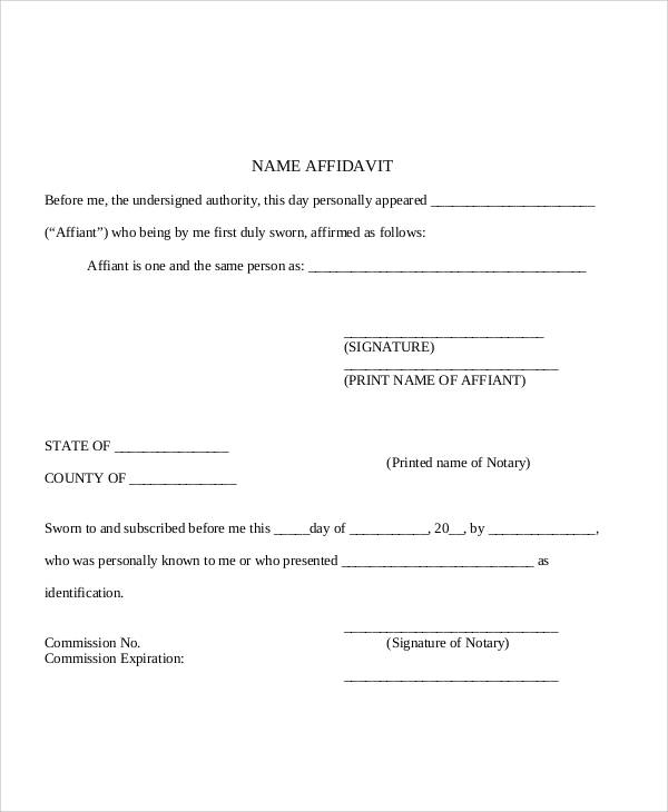blank name affidavit form